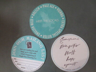 3 different EAGLE BAY Brewing Co. Western Australia .BEER Coasters