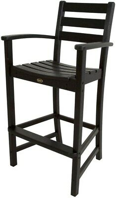 Patio Arm Chair Bar Height Weather Resistant Plastic Charcoal Black Frame Finish