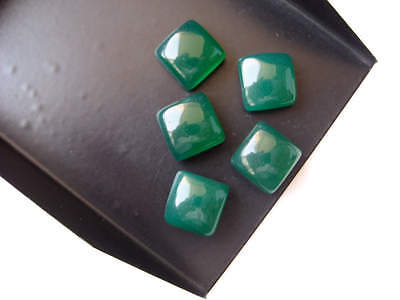 10 Pieces 10mm Green Onyx Square Cabochon Smooth Flat Back Gemstones - BB193