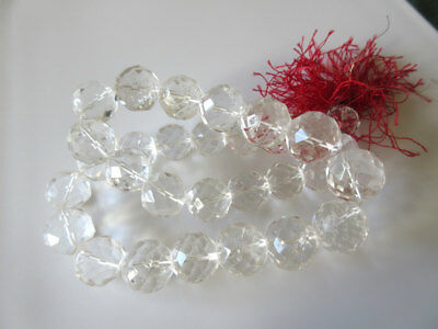3 Strands Rock Crystal Quartz Faceted Round Beads 14mm To 20mm 10 Inches GDS150