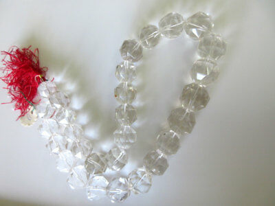 Crystal Quartz Rose Cut Micro Faceted Rondelles 17mm-20mm 20 Inch Strand GDS136