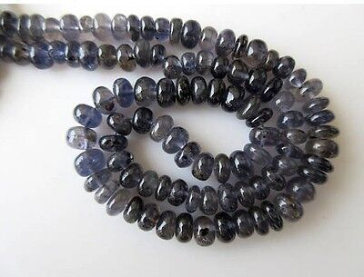 Natural Iolite Smooth Rondelle Beads 9mm-10mm Beads 16 Inch Strand GDS667
