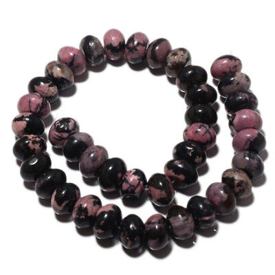 Rhodonite Rondelles Beads 14mm Beads 15 Inch Strand 40 Pieces Approx MM27