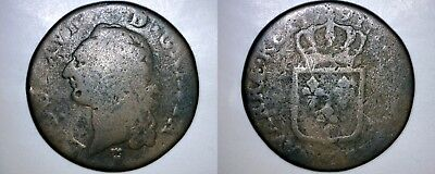 1791 French 1 Sol World Coin - France - Bordeaux Mint