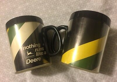 2 Vintage John Deere Nothing Runs Like a Deere Insulated Thermo Serv Mugs 🚜 Cup