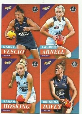 2018 afl select FOOTY STARS AFLW CARLTON WOMAN COMMON TEAM SET 4 CARDS