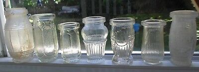 7 Various ART DECO SHAPED Meat and Food Paste Jars 1920s to 1950s Some SCARCE GC