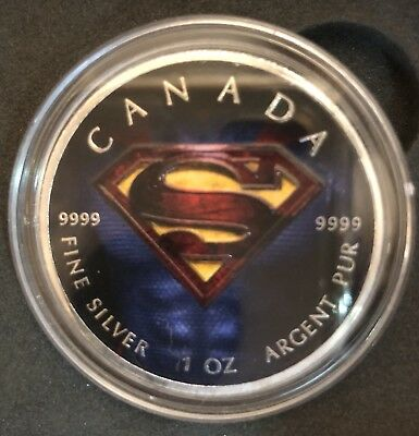2016 1 Oz .999 1 Oz Colorized Superman Silver Canada Coin 100 Minted W/box & Coa