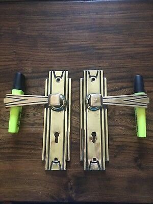 Art Deco Door Handles Brass Genuine