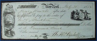 Vintage 1862 Bank Check C. A. Buckbee Amer. Bible Union Asst. Treasurer, Wyckoff