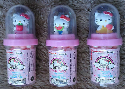 HELLO KITTY Kandy Kastle Collectable Globe Candy Holders NEW Unopened Set of 3