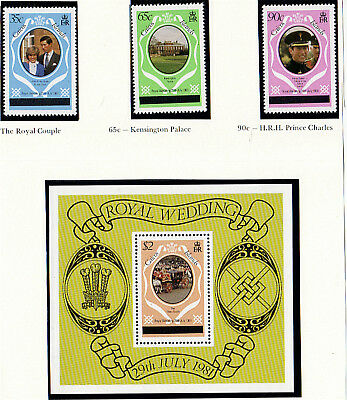 CAICOS ISLANDS 1981 ROYAL WEDDING SET & MINIATURE SHEET LONDON PRINTING MNH (a)