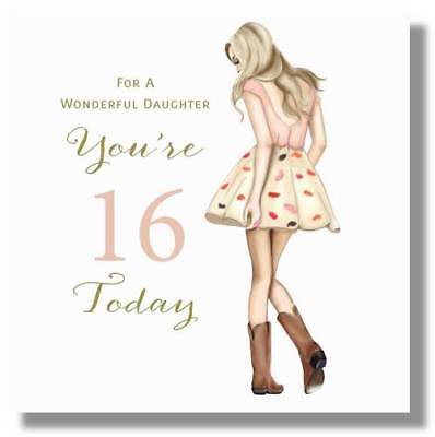 LARGE HAPPY 16TH Birthday Greeting Card For A Wonderful Daughter By Mary Kirkham
