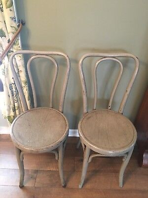 Vintage Antique Austria Bistro Chair Set Pair Jacob Josef Kohn Bentwood Gray WOW