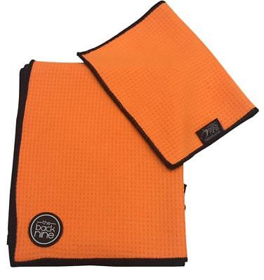 AquaPro Waffle Weave Tour Caddy Towel - Bonus Matching Hand Towel - Orange/Black