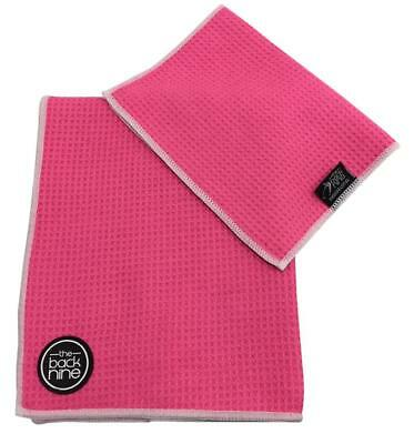 AquaPro Waffle Weave Tour Caddy Towel - Bonus Matching Hand Towel - Pink/White