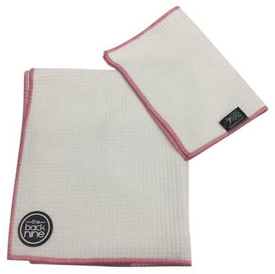 AquaPro Waffle Weave Tour Caddy Towel - Bonus Matching Hand Towel - White/Pink