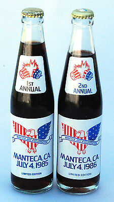 "1985, 86  ""Manteca California, 1st & 2nd Annual July 4th "". (2)  Coke bottles."