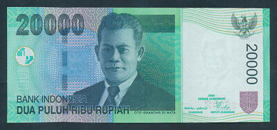 """Indonesia: 2004 20,000 Rupiah LUCKY NUMBER """"888"""" in Serial. Pick 144a, UNC"""