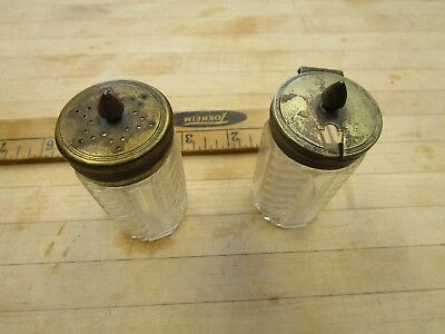 Antique glass And Metal  salt Cellar and pepper/ shaker