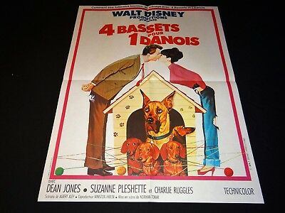 4 BASSETS POUR UN DANOIS  ! winnie l'ourson  affiche cinema disney 1965
