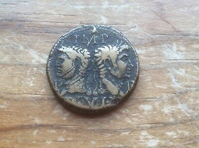 Augustus and Agrippa , bronze Dupondius, 10 to 14 AD sharp coin must see