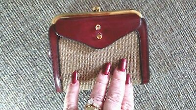 """VINTAGE 70's """"ETIENNE AIGNER"""" Woven/Burgandy Real Leather Snap Closure Wallet."""