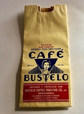 Vintage 1940's Cafe Bustelo Coffee Bag Bronx NY Unused Excellent