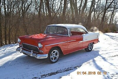 1955 Chevrolet Bel Air/150/210 350 AUTO PDB 1955 BELAIR 350 AUTO PDB SOLID BEAUTIFUL GYPSY RED AND IVORY NICE SHARP BELAIR