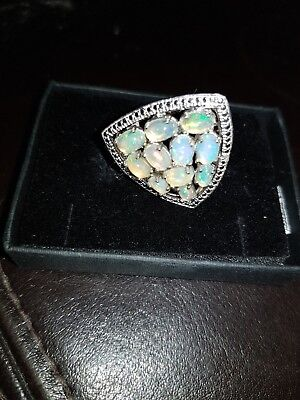 Womans solid silver Ethiopian fire opal vintage ring