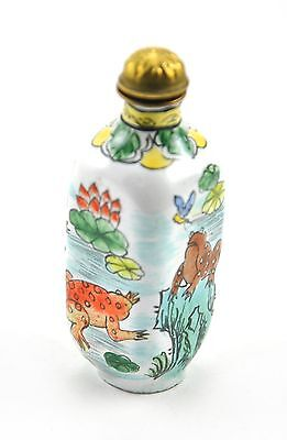 Vintage Chinese Enamel Copper Snuff Bottle Hand painted Frog Froggy