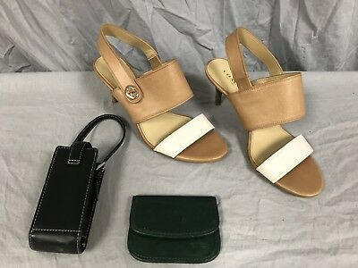Mixed Lot of 3 Coach Items Green Change Purse, Mini Pouch, Heels (Size 7.5 B)