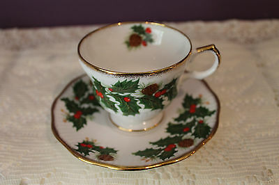 Rosina Fine Bone China England Demitasse Teacup And Saucer(S) - Holly Berries