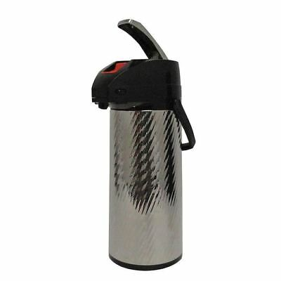 American Glass 2.2 Liter Glass Lined Stainless Steel Silver Swirl Body Airpot AP
