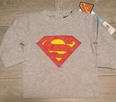 Baby boys girls grey long sleeve T shirt top Superman Superbaby Age 3-6 months