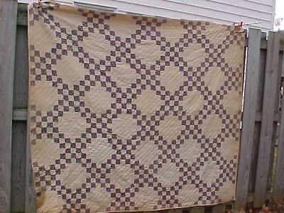 19thc HAND CRAFTED QUILT w Purple on White DIAMOND PATTERN 77 x 70