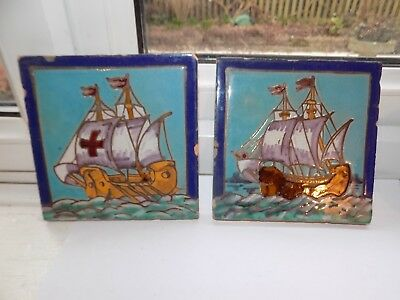 2 x ANTIQUE or  VINTAGE RAMOS REJANO SEVILLE HAND DECORATED FAIENCE WALL TILES