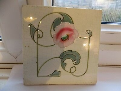 Art Nouveau Tubelined Hand Decorated Wall Tile 6'' Copyright Made In England