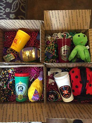 Mardi Gras Beads Cups Stuffed Collectible Item Bracelet Souvenier Throws One Box