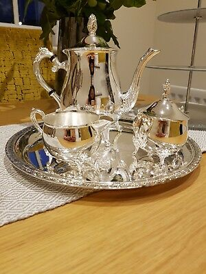 Stunning Silver Plated 4 Piece Tea Service Never Used Mint Needs To Be Seen