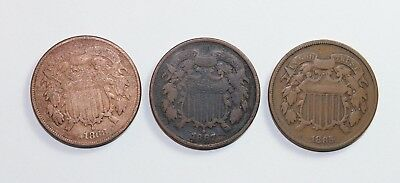 (3)  Two Cent Pieces  1865, 1867, 1868