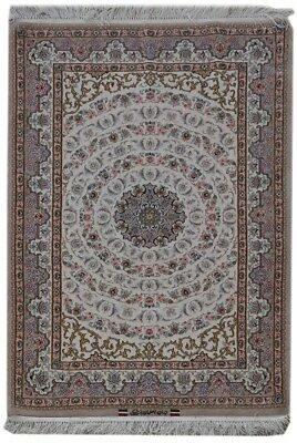 Signed Rug Handmade Ivory Finest Quality 4' x 5' Persian Wool&Silk Isfahan Rug