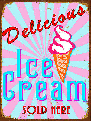Metal Vintage Shabby-Chic Tin Sign Delicious Ice Cream Plaque/Fridge Magnet