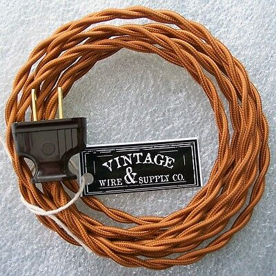 Copper Cordset - 8ft - Cloth Covered Twisted Wire Vintage Rewire Kit Antique Fan