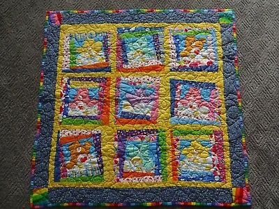 "Hand Made CARE BEAR Machine Quilted Baby Crib Blanket 38"" X 36"" Vibrant Colors"