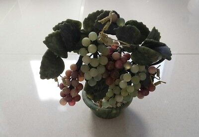 Oriental Bonsai Grape Vine Fruit Tree Ornament On Marble Base