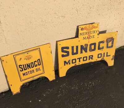 1930s Vintage Sunoco Motor Oil Front And Side Of store display Rack Porcelain