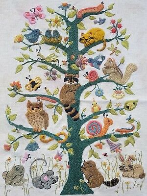 Vintage Hand Embroidered Picture/Panel with Animals on Tree of Life
