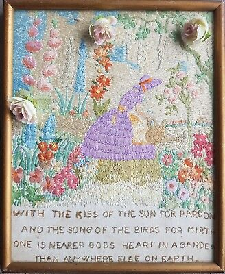 Vintage Hand Embroidered Picture/Panel with Crinoline Lady