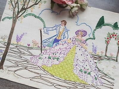Vintage Hand Embroidered Picture/Panel with Crinoline Lady&Gentleman